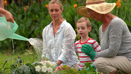 Happy family gardening Footage