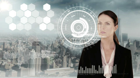 Businesswoman touching futuristic interface with city on background Animation