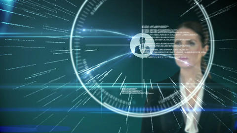 A businesswoman touching futuristic interface on black background Animation