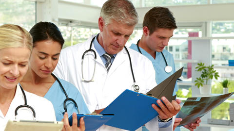Serious medical team working in medical office Footage