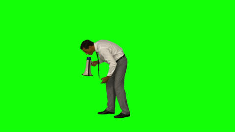 Businessman yelling with a megaphone Live Action