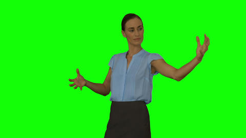 Businesswoman presenting with hands Footage