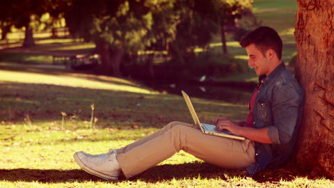 Young man sitting against a tree and using his laptop Footage