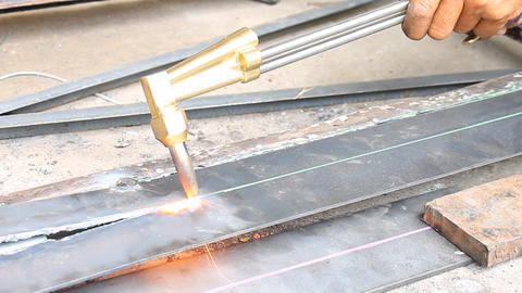 Metal Cutting With Acetylene Gas Oblique View Footage