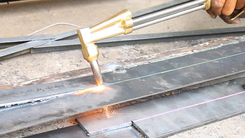 Sheet Metal Cutting With Acetylene Gas Oblique View Footage