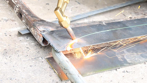 Sheet Metal Cutting With Gas Footage