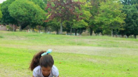 Little girl doing hula hoop Footage
