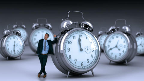 Businessman standing and touching giant clock Animation