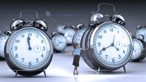 Businesswoman standing and touching giant clock Animation