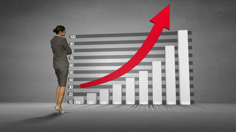 Businesswoman watching progress graph with arrow Animation