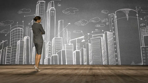 Businesswoman looking at cityscape doodle Animation