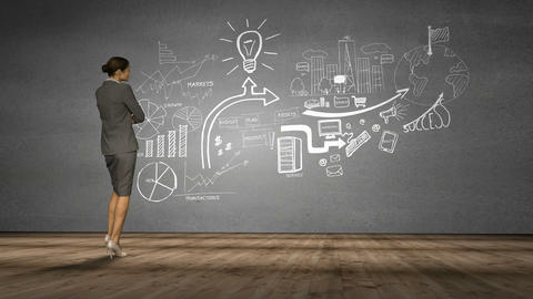 Businesswoman looking at grey wall with brainstorm Animation