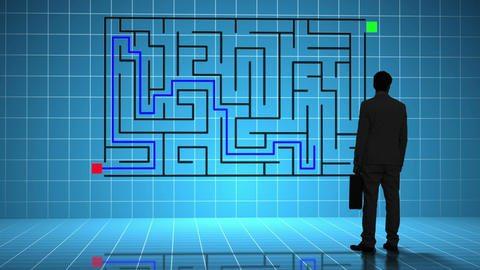 Businessman looking at maze interface Animation