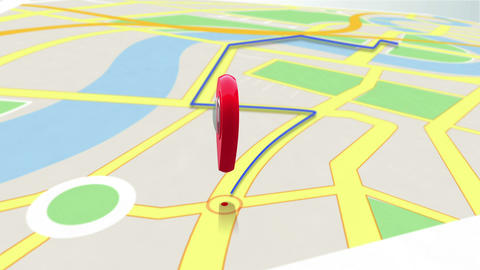 Red marker showing the way by zooming in on a map Animation