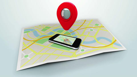 red marker pointing at a mobile lying on a map of a town Animation