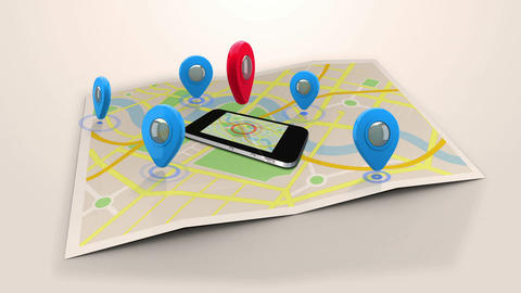 Red marker pointing on a mobile lying on a map surrounded by blue markers Animation
