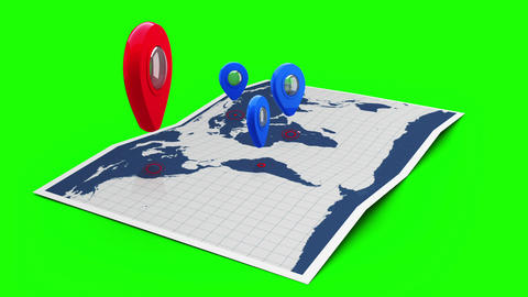 Red pointer on a world map surrounded by blue markers Animation