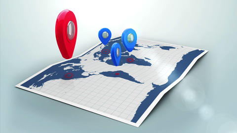 Red pointer on a world map surrounded by blue markers with lens flare Animation