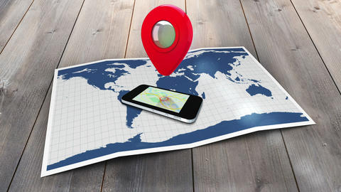 Red marker pointing on a mobile on a world map with lens flare Animation