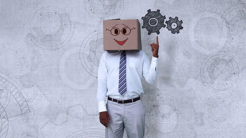 Businessman wearing smiley face box pointing on cogwheel, Stock Animation