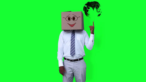 Businessman wearing smiley face box pointing on globe against greenscreen Animation