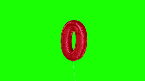 Red zero balloon floating to the top against greenscreen Animation