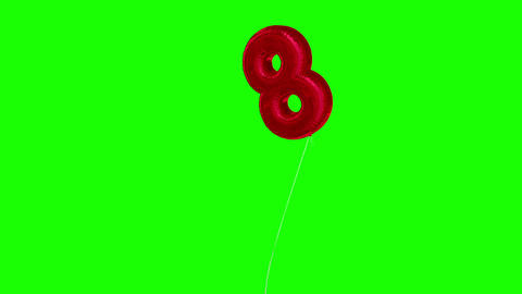 Red eight balloon floating to the top against greenscreen Animation