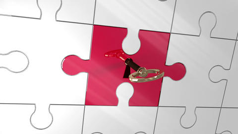 Key unlocking red piece of puzzle showing investment Animation