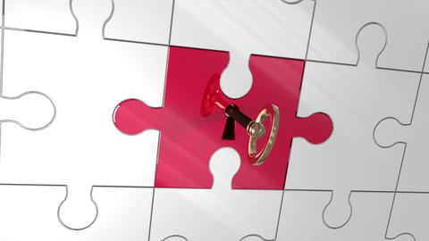 Key unlocking piece of puzzle showing Green Screen Animation