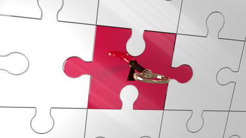 Key unlocking red piece of puzzle showing businesspartners Animation