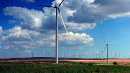 Wind Turbines, Field With Strong Colors, Zoom Out stock footage