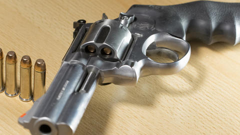 Stainless steel revolver caliber 357 Magnum Footage