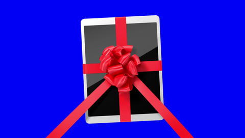 Tablet pc with a red ribbon on a blue screen Animation
