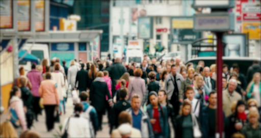 Crowd On A Busy Street stock footage