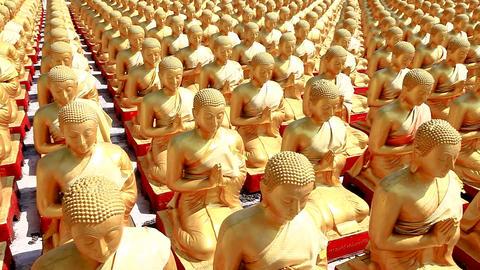 HD: Dolly: Golden Buddha at Buddha Memorial park , Nakornnayok, Thailand, Pannin Footage