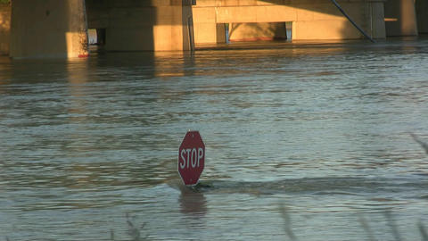 Stop Sign Under Water After Flooding Footage