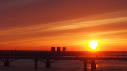 Sunset over bridge in the city Timelapse Footage