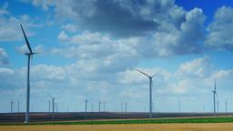 Wind Turbines In A Wheat Field, Time Lapse, Tilt Footage