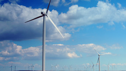 Wind Turbines With Cloudy Sky, Time Lapse, Tilt Footage