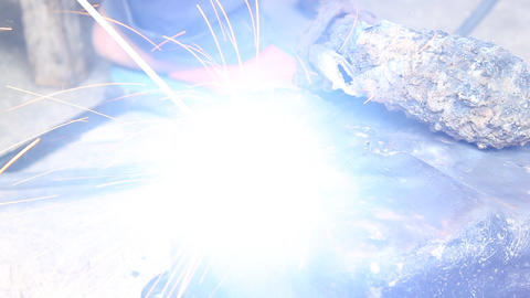 Electric Arc Welding The Oil Pan of Car Part Footage