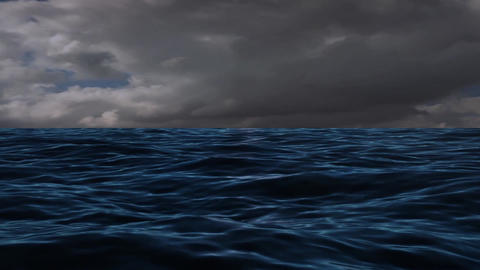 Extreme Cloud and Winds at The Blue Sea Ocean Stock Video Footage