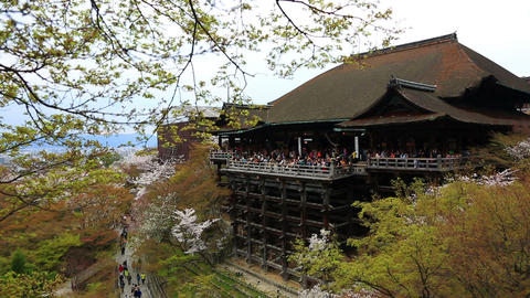 The large veranda of Kiyomizu-dera (Kiyomizu Temple) Footage
