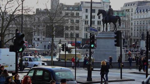 Trafalgar Square Traffic stock footage