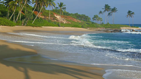 sea waves on tropical beach at evening Footage