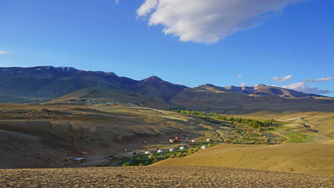 timelapse with nomadic yurt camp in Altay Footage