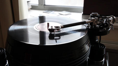 Close Up Of A Record Player Playing Vinyl. Retro Vinyl Turntable Stylus stock footage
