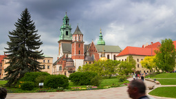 Tourists In Wawel Royal Castle. Time Lapse 4K stock footage