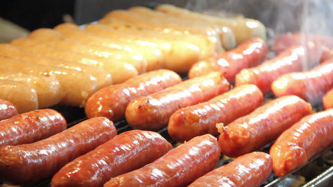 Roasting Sausages.HD stock footage