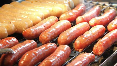 Roasting Sausages.HD Footage