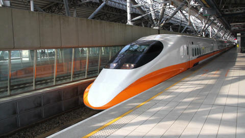 Taiwan High Speed Railway (THSR) Train at Taichung THSR Station. HD Live Action